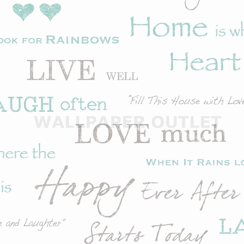 Fine Decor Wall Words Teal Wallpaper U2013 FD40428