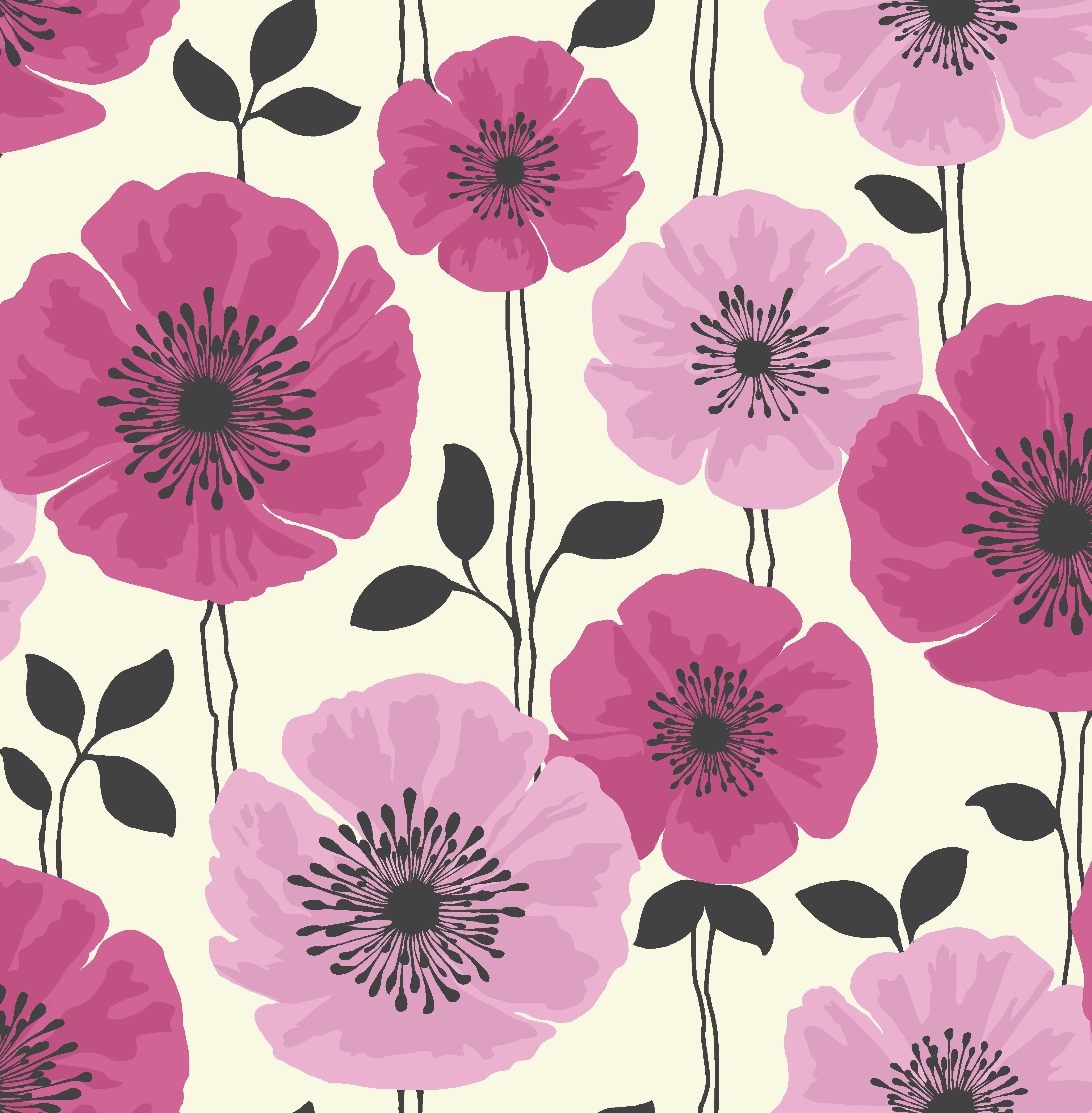 Pink And Black Wallpaper For Bedroom Similiar Teal Pink Black Floral Art Keywords