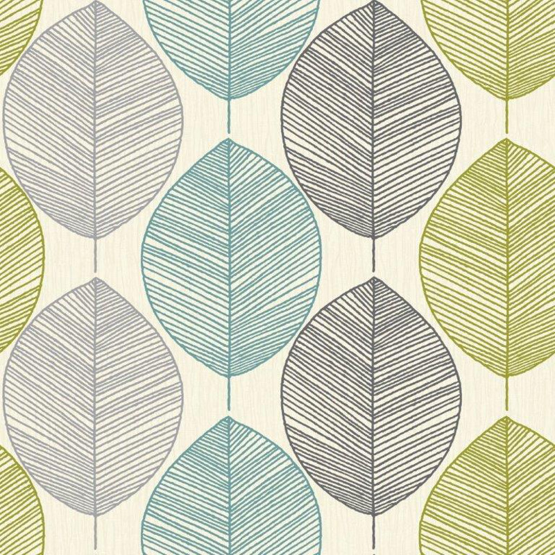 Arthouse Opera Retro Leaf Teal Green Wallpaper 408207