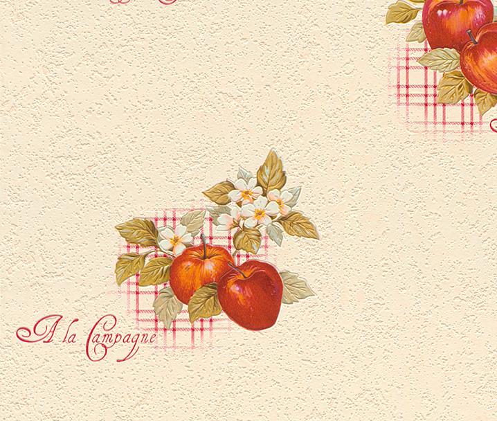 rasch apples vinyl kitchen wallpaper 824506 cream cut