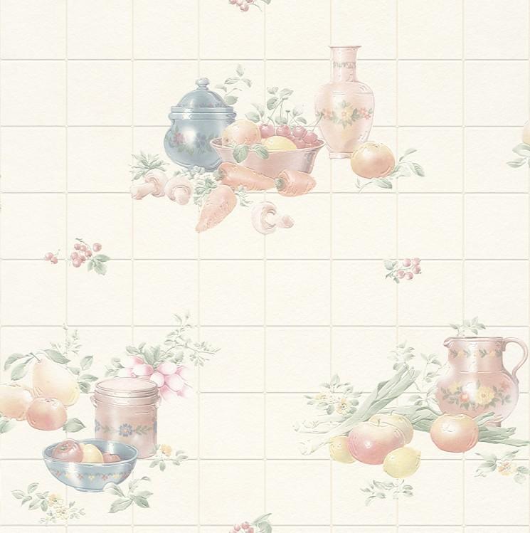 rasch fruit bowl vinyl kitchen wallpaper 884913 cream