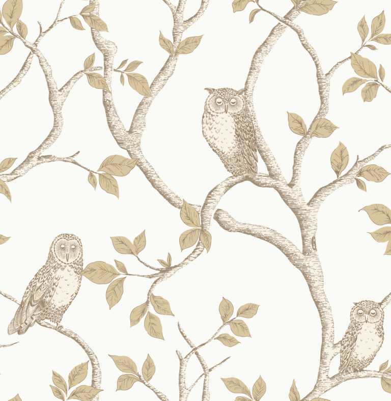 Fine decor woodland owls gold wallpaper fd40639 sample