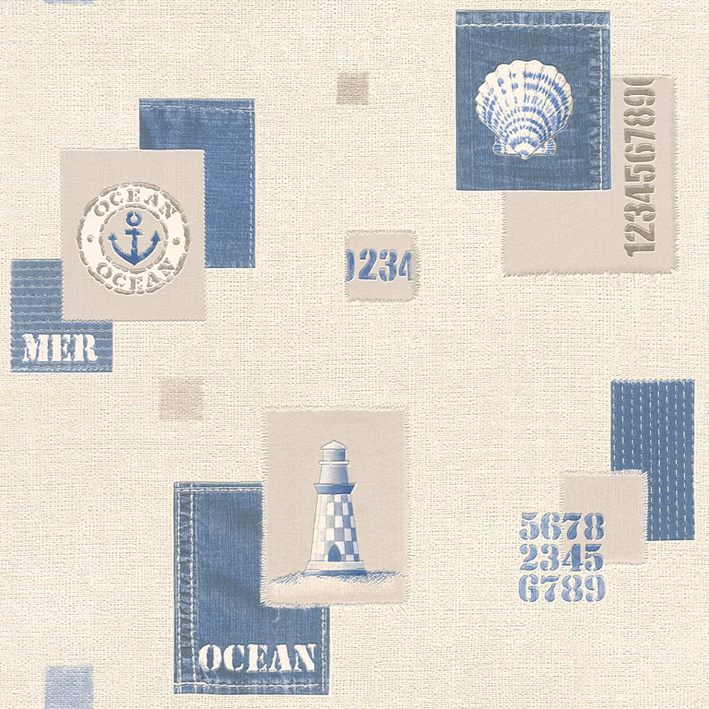 Rasch apples vinyl kitchen wallpaper 824506 cream cut price - Rasch Aqua Nautical Bathroom Wallpaper 853209 Blue