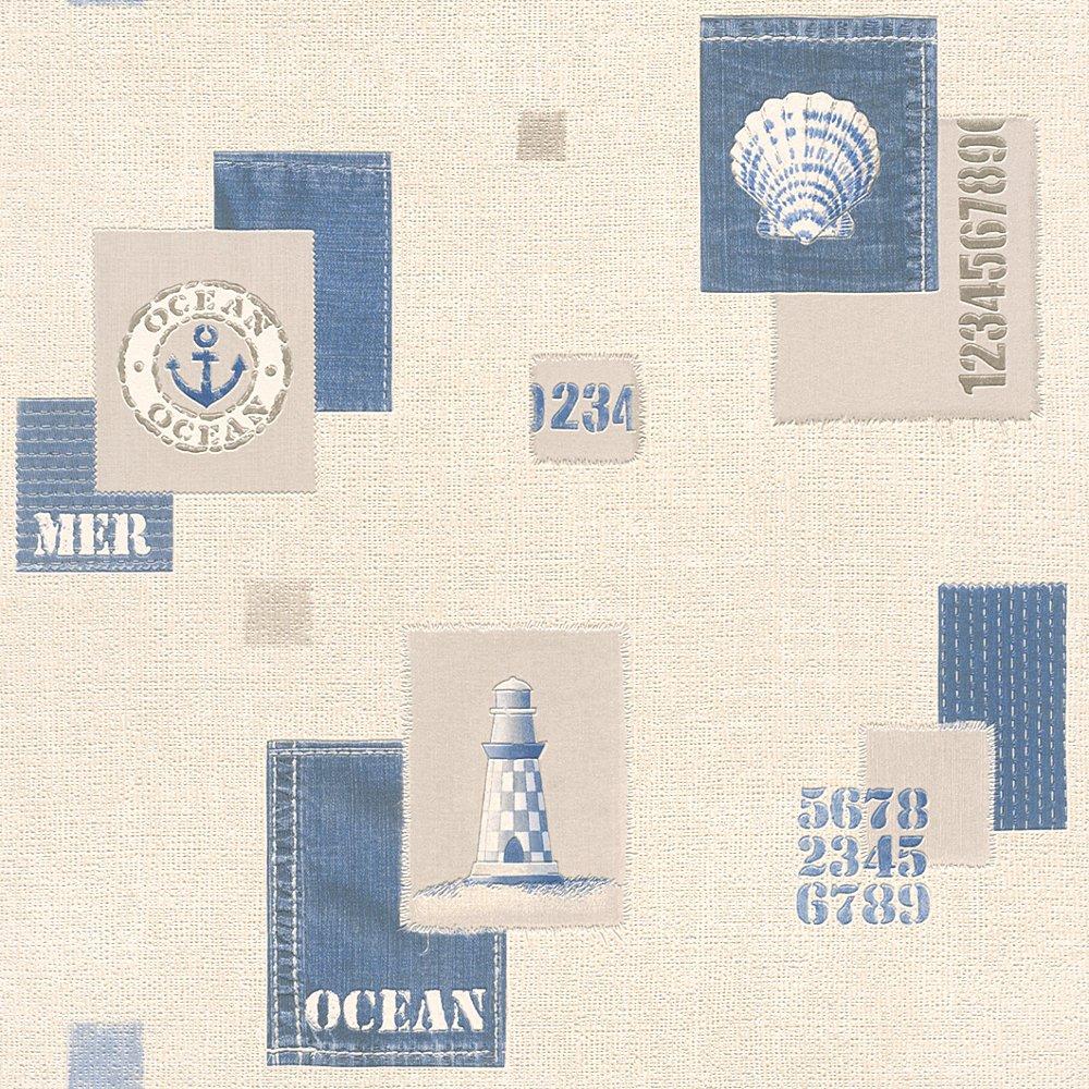 Wallpaper For Bathrooms Vinyl Washable Wallpaper: Rasch Aqua Nautical Bathroom Wallpaper