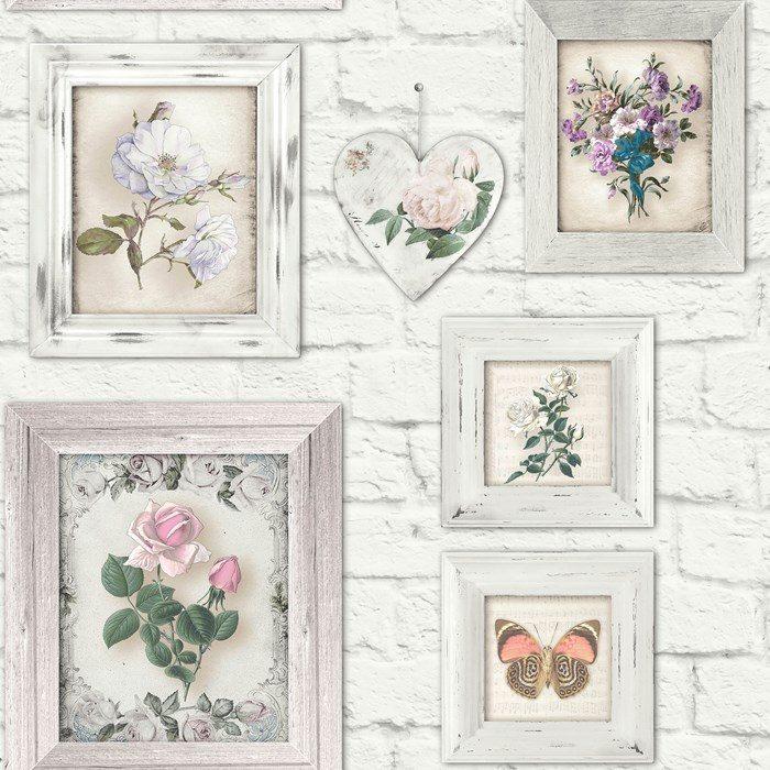 Graham Brown Fresco Brick Floral Frames Wallpaper 51 073 White