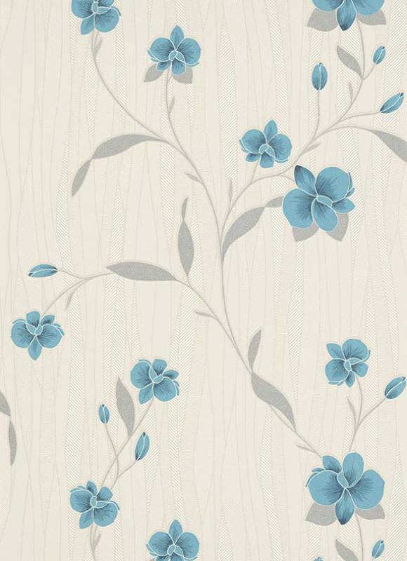erismann orchid blown vinyl wallpaper 9745 18 teal. Black Bedroom Furniture Sets. Home Design Ideas
