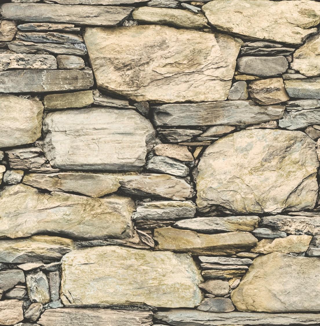 fine decor stone wall wallpaper   fd40942   beige   cut