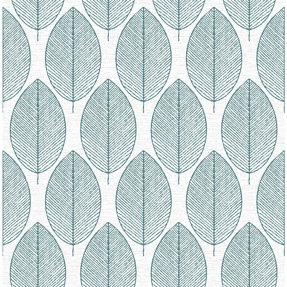 Graham Brown Fresco Retro Leaf Wallpaper 101688 White Teal