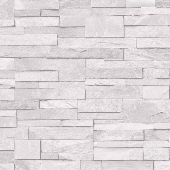 Grandeco ideco home stone vinyl wallpaper a17201 white for White washable wallpaper