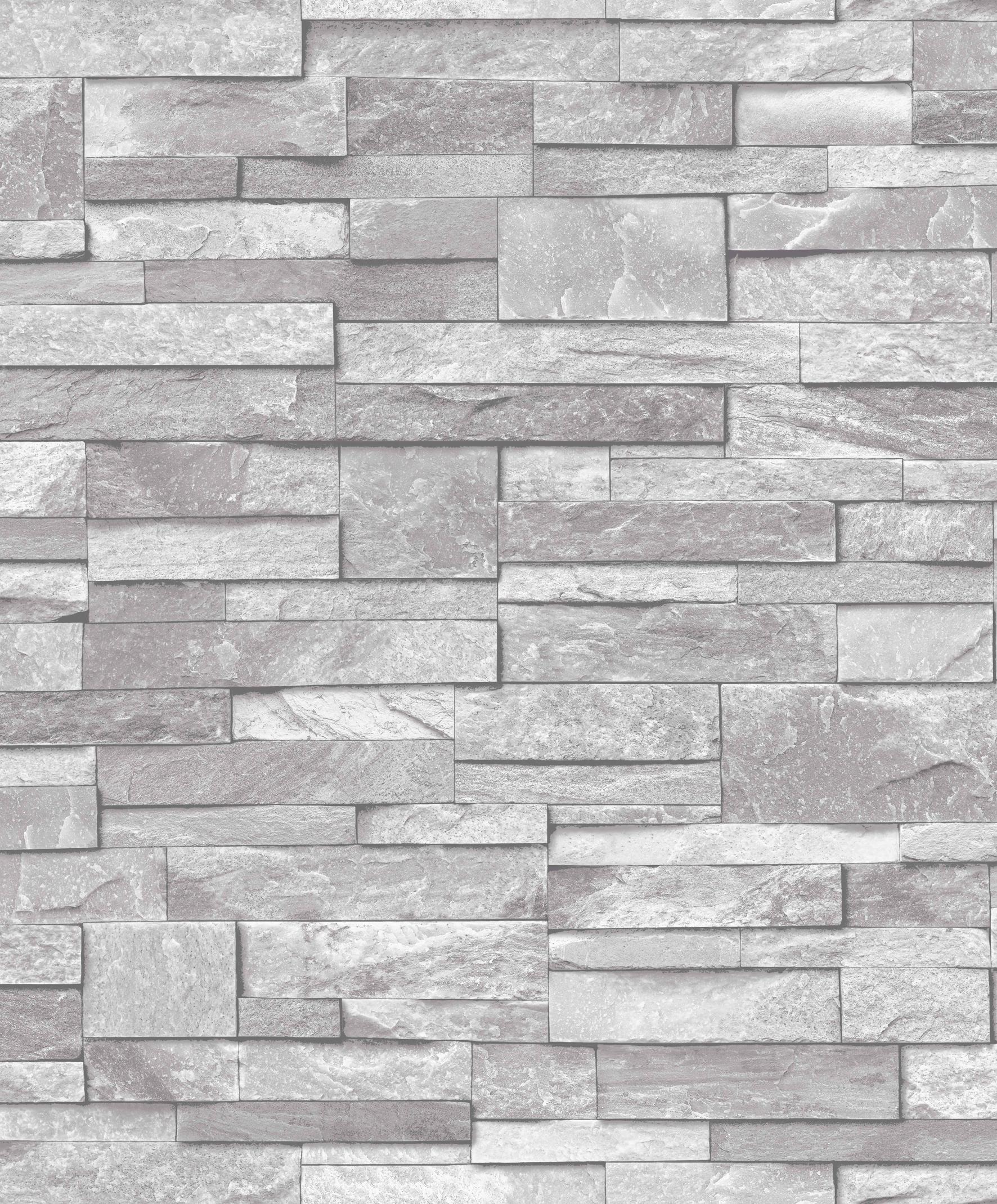 Grandeco ideco home stone vinyl wallpaper a17202 light for Gray vinyl wallpaper