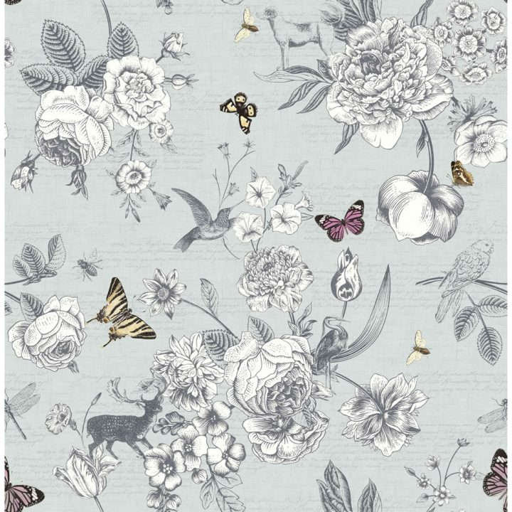 Graham Brown Fresco Victoriana Wallpaper 51 039 Blue