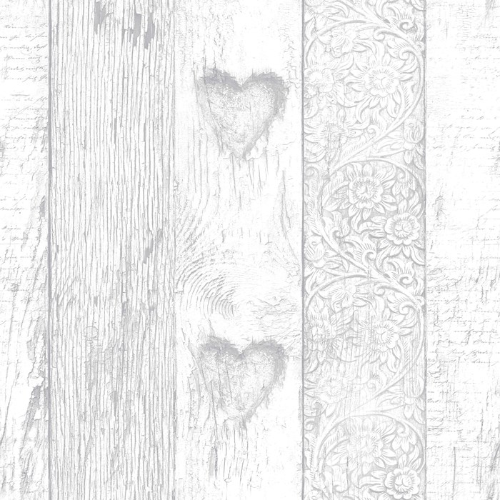 Graham Brown Fresco Plank Love Heart Wallpaper 100049 Grey