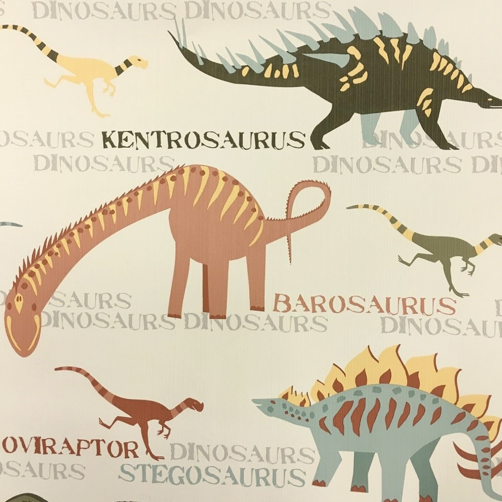 AS Creation Boys and Girls Dinosaur Wallpaper- 93633-1 - Beige/Multi ...