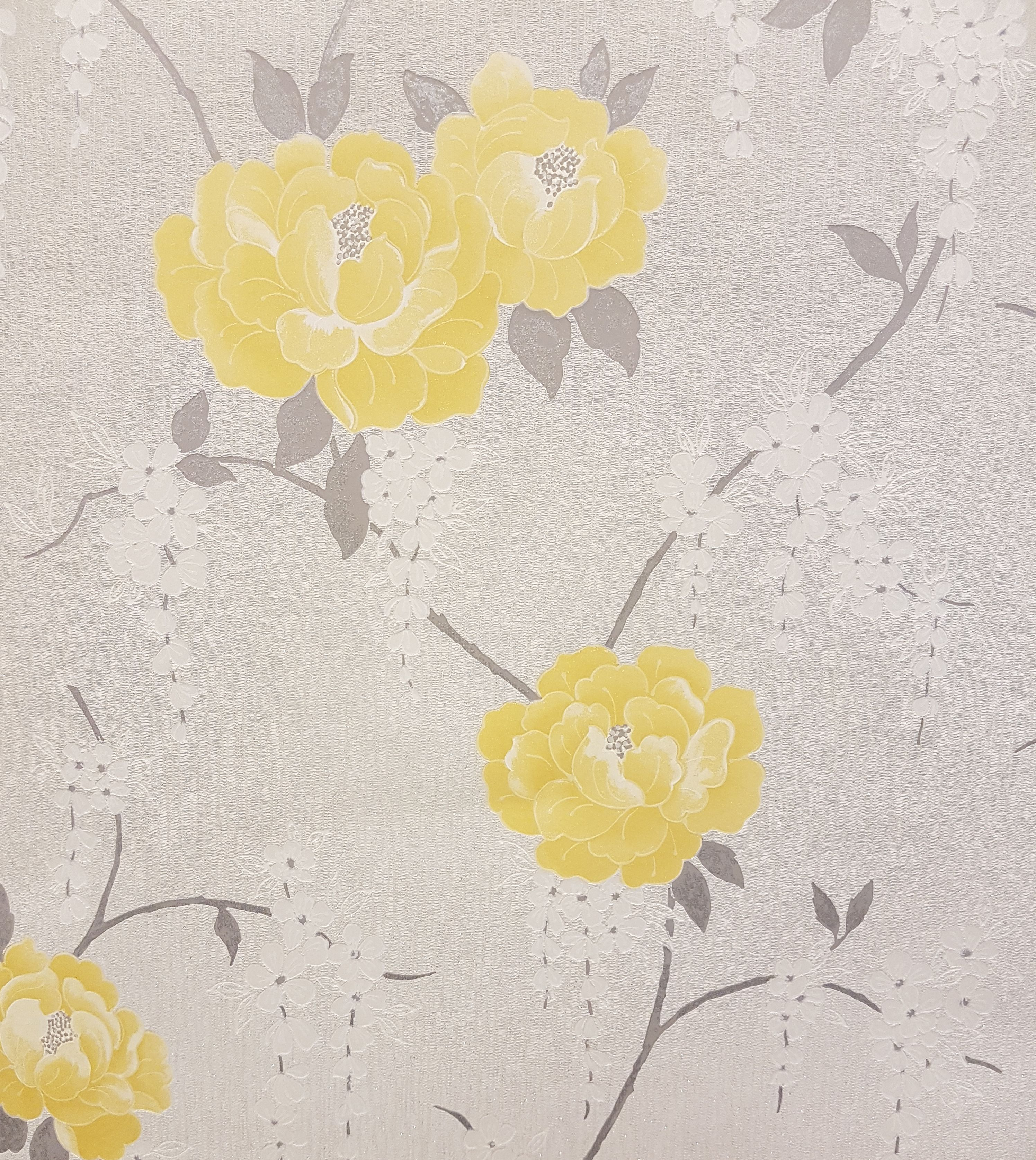 Graham brown super fresco elizabeth floral vinyl wallpaper 101865 yellow grey cut - Gray and yellow wallpaper ...