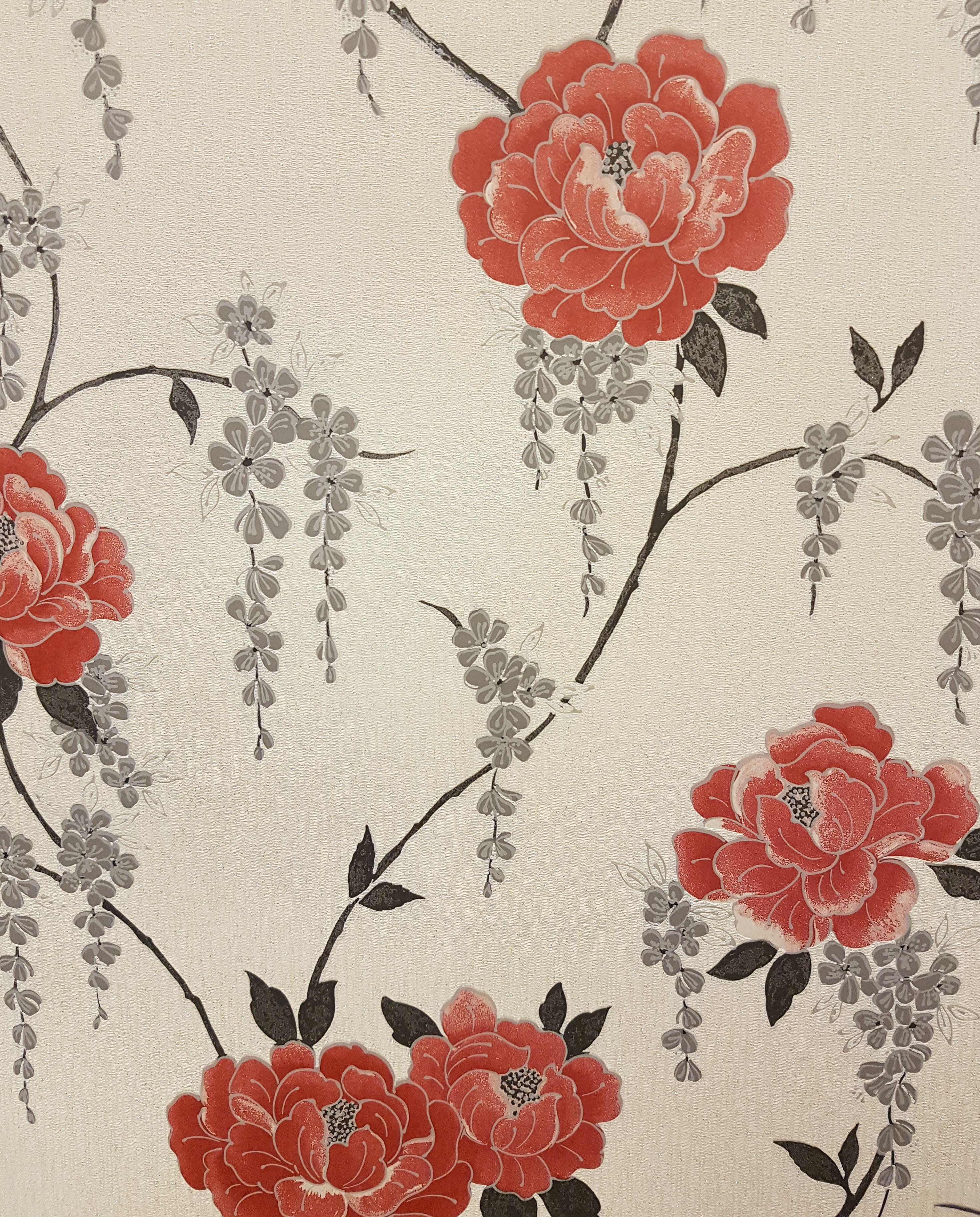 58ad9e320a5f Graham   Brown – Super Fresco – Elizabeth Floral Vinyl Wallpaper – 101862 –  Red Grey