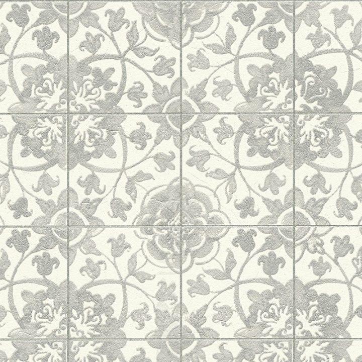 As creation faro floral tile wallpaper 96247 3 white for White tile wallpaper