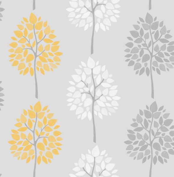 Fine decor riva tree wallpaper fd41594 yellow grey cut price wallpaper crewe - Gray and yellow wallpaper ...