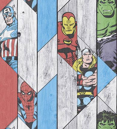 Marvel Super Heroes Wood Panel Wallpaper 102435 Multi