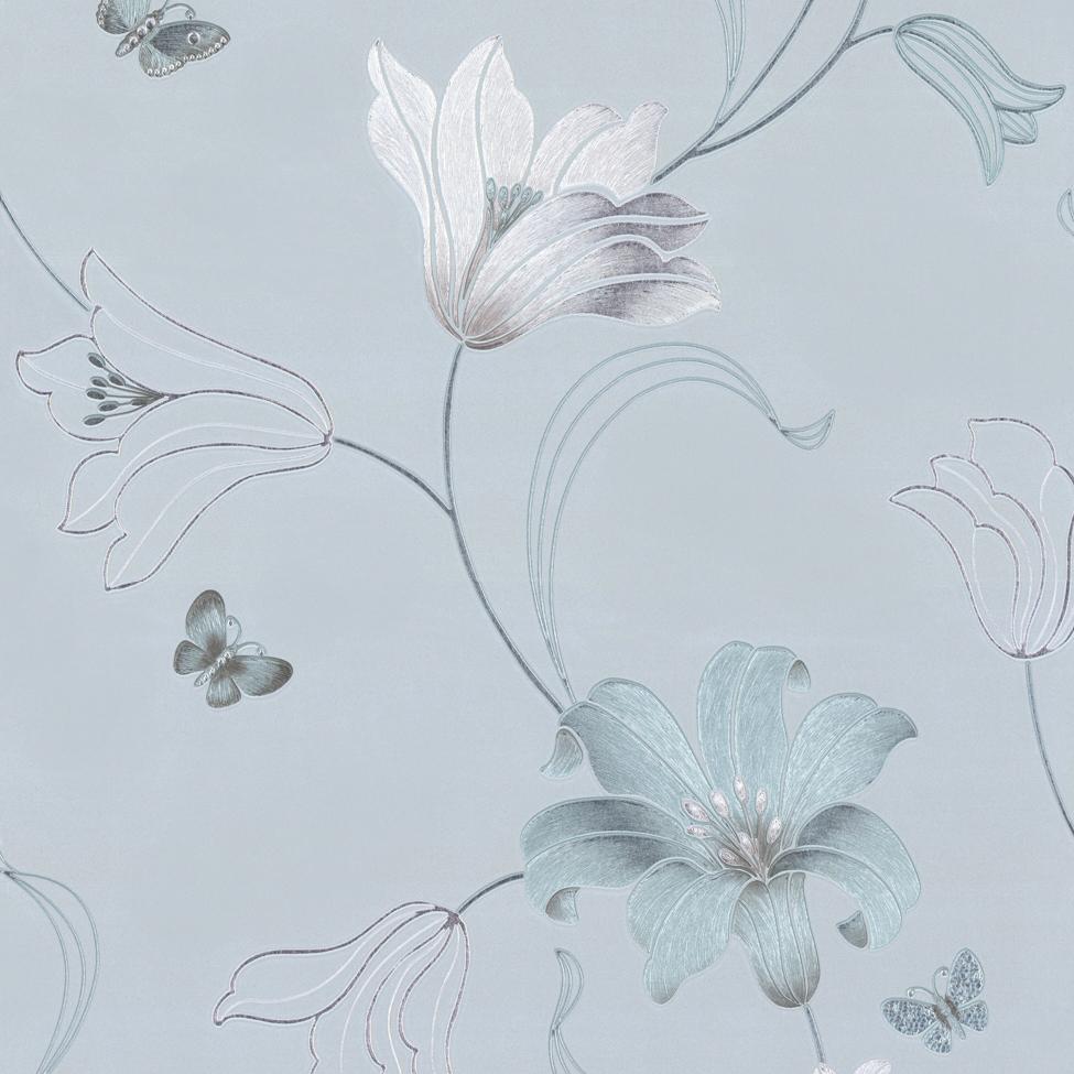 MUR 701412 Amelia Floral Duck Egg Blue WP S sq - Vintage Tapete Blumen