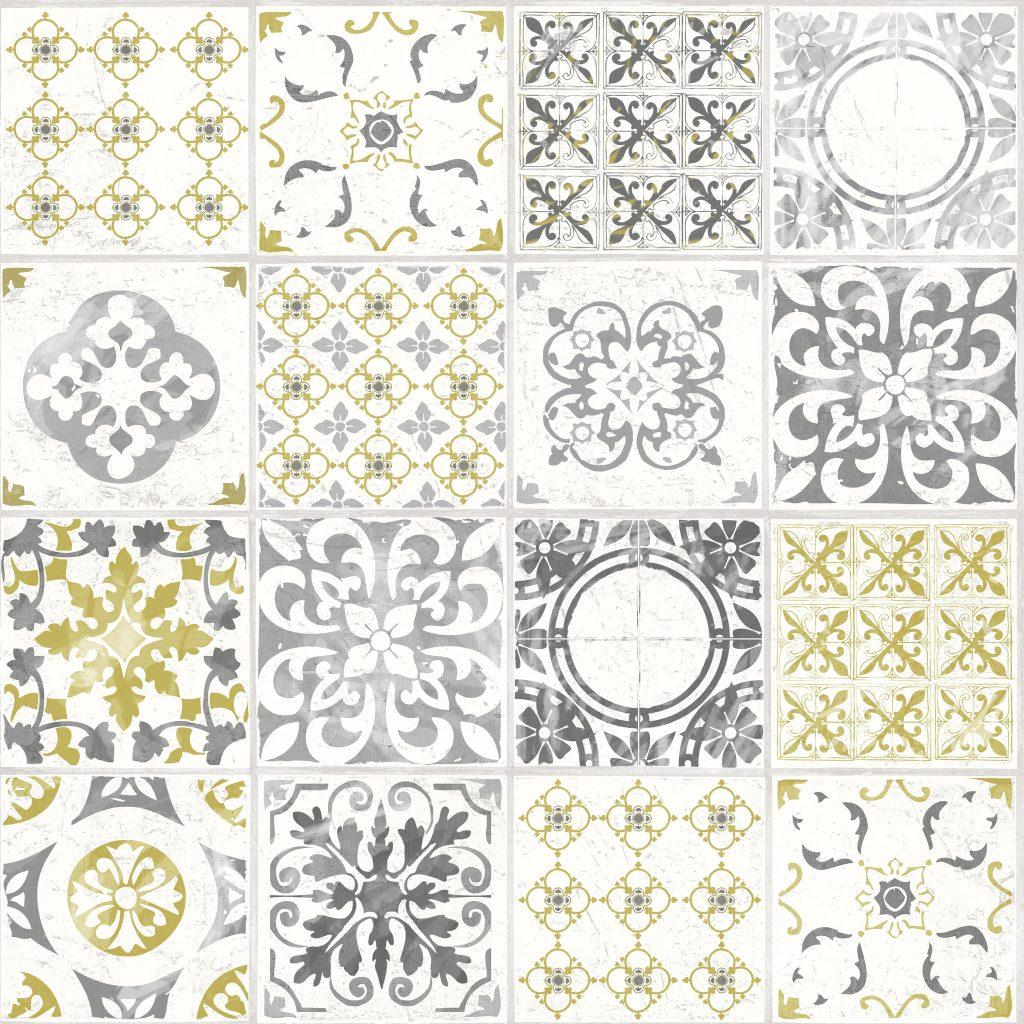 Ideco Home Porto Tile Wallpaper A22901 Yellow Cut