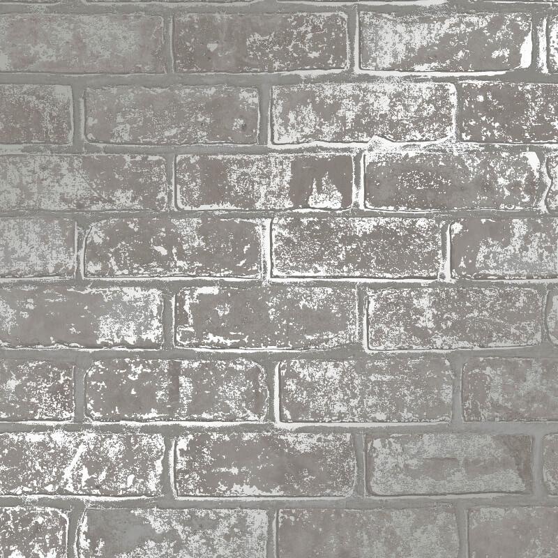 Fine Decor Loft Brick Wallpaper Fd41956 Silver Grey