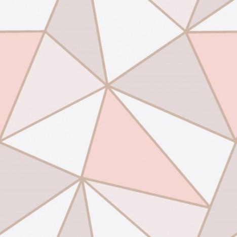 Fine Decor Apex Geometric Wallpaper Fd41993 Pink Rose