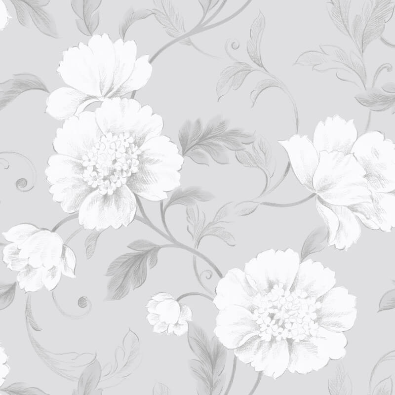 gray floral wallpaper  Rasch Boutique Floral Wallpaper - 226188 - Grey - Cut Price ...