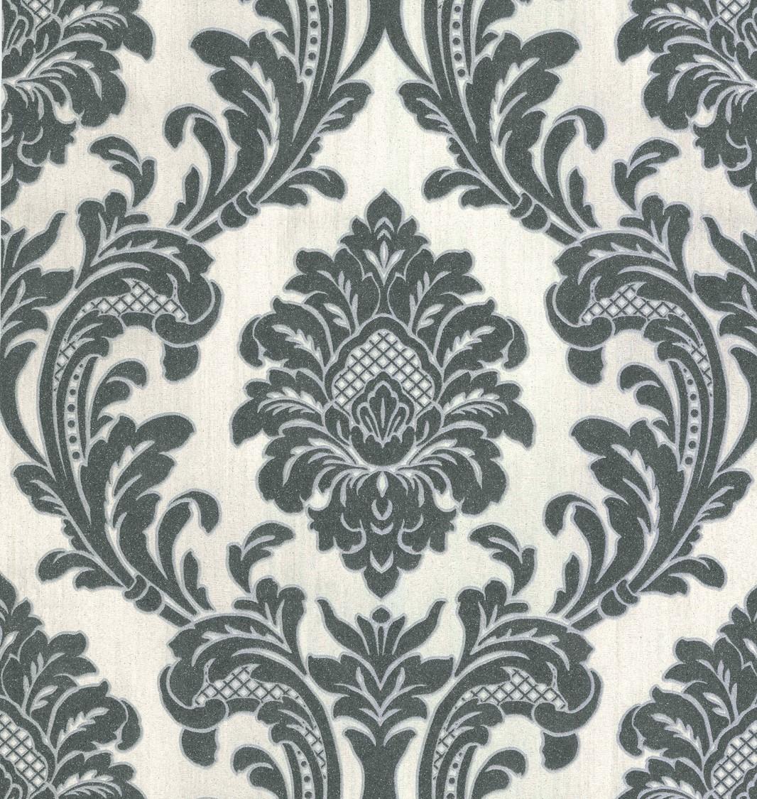 Fine decor milano 7 damask vinyl wallpaper m95584 for Black white damask wallpaper mural