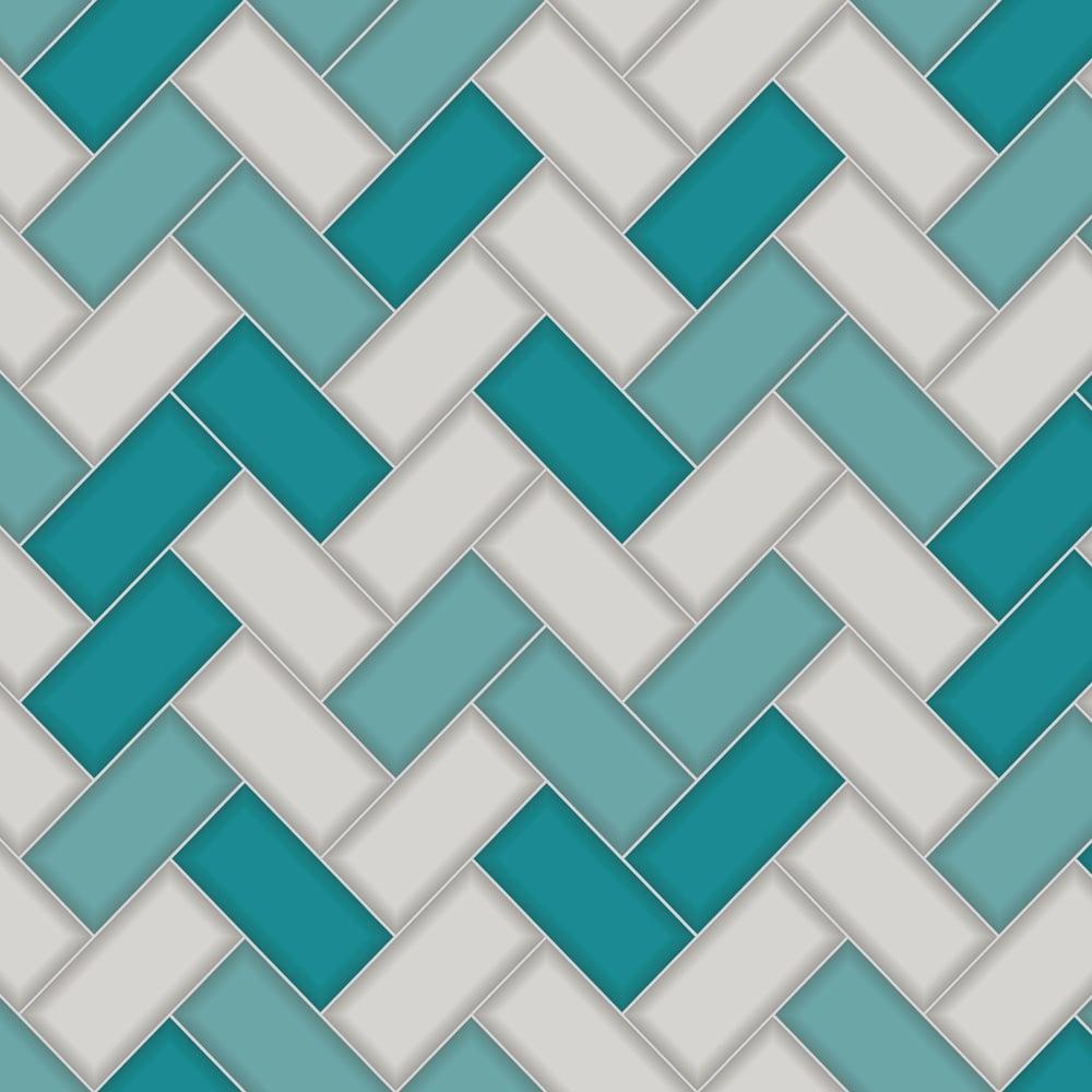 Holden decor chevron tile wallpaper 89301 teal greycut for Chevron wallpaper home uk
