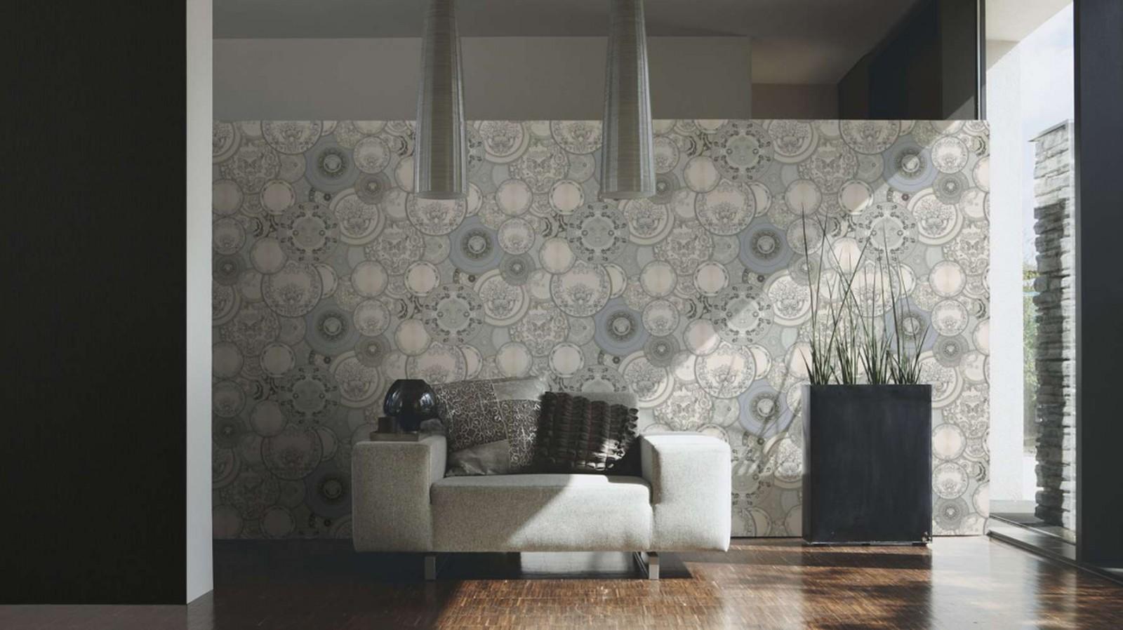 versace les etoiles de la mer wallpaper 34901 3 grey silver. Black Bedroom Furniture Sets. Home Design Ideas