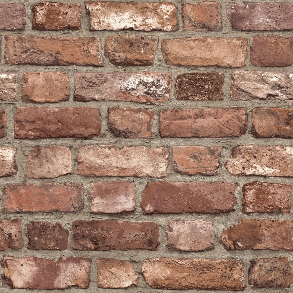 Grandeco Vintage Brick Textured Wallpaper A28901 Red Brick