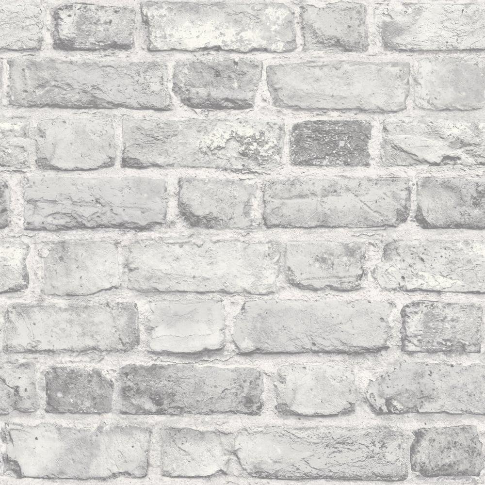 Grandeco Vintage Brick Textured Wallpaper A28903 Grey