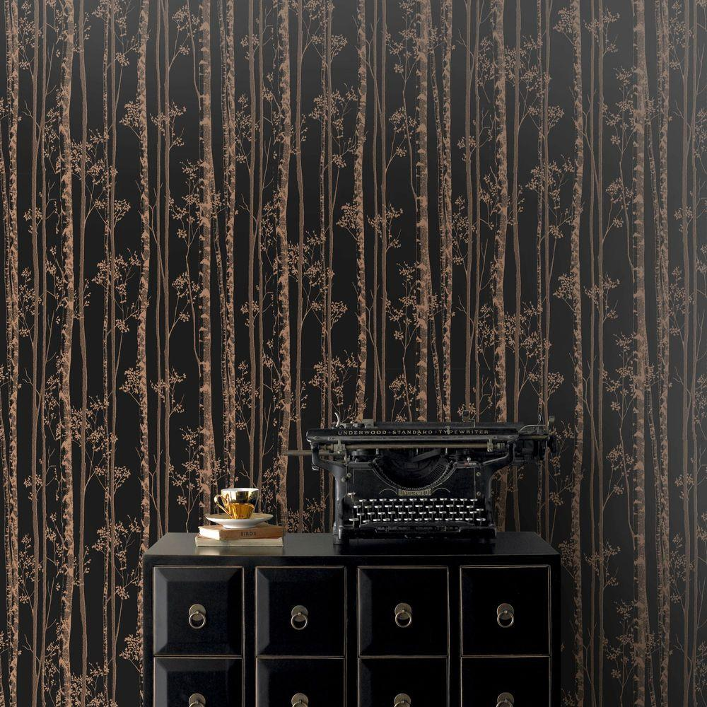 Brown Linden Wallpaper 100525 Black Copper
