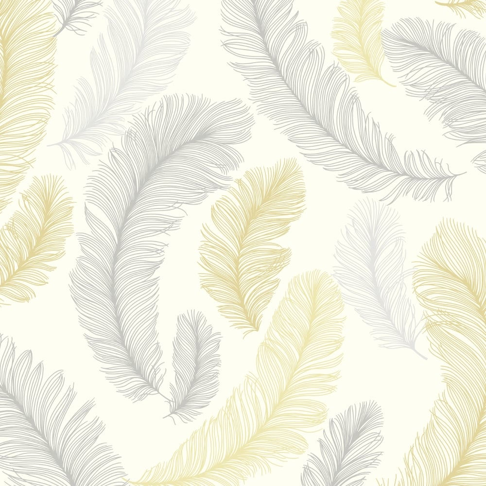 Grandeco Reflect Feather Wallpaper Re2003 Yellow Grey