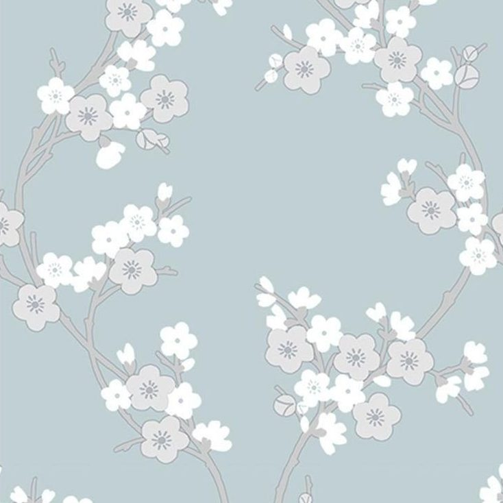 Graham Brown Super Fresco Cherry Blossom Vinyl Wallpaper 103296 Teal