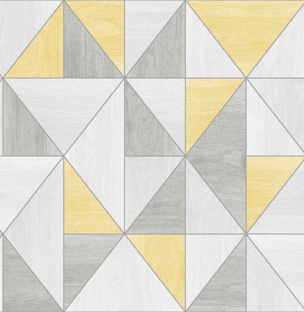 Fine Decor Apex Woodgrain Geo Wallpaper Fd42223 Yellow Grey