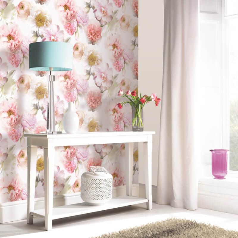 25 Vivacious Kids Rooms With Brick Walls Full Of Personality: Arthouse Imagine Diamond Bloom Vinyl Wallpaper- 257000-Blush