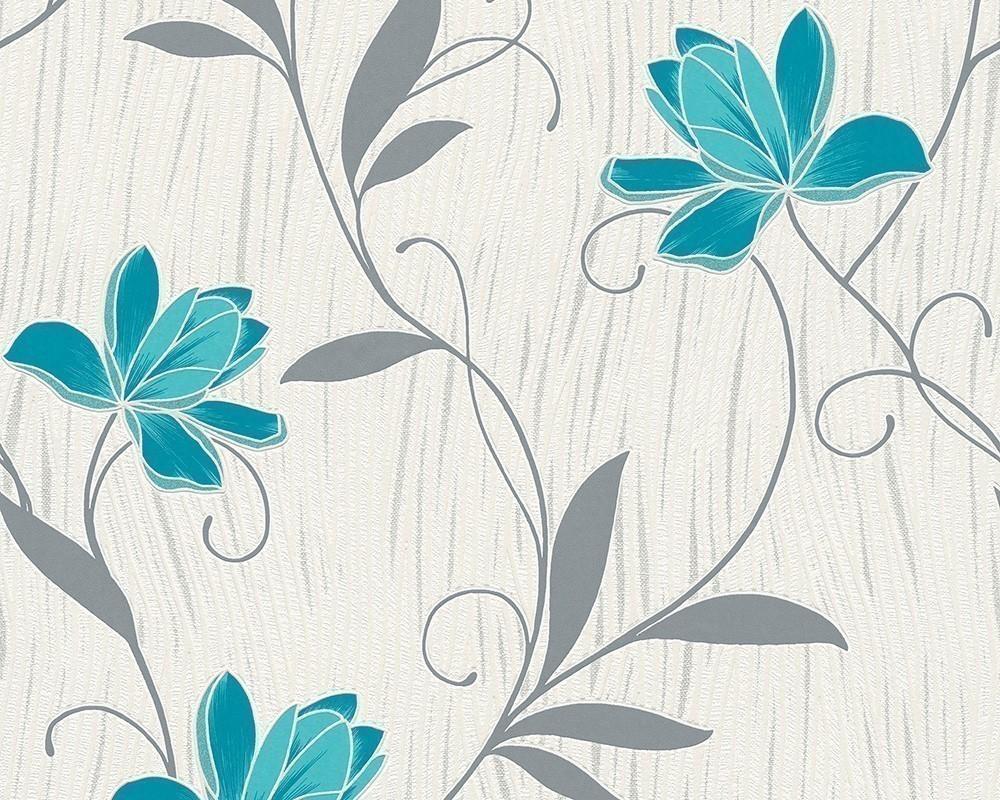As Creation Lotus Flower Textured Wallpaper 3062 10 Teal
