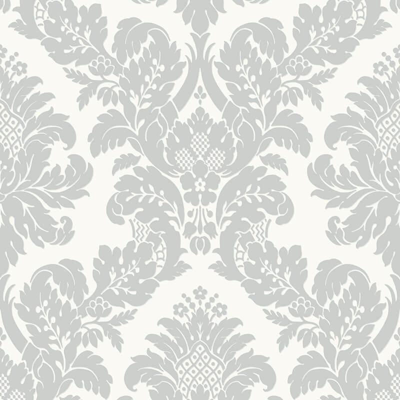 Pear tree fabric damask wallpaper uk10432 white silver