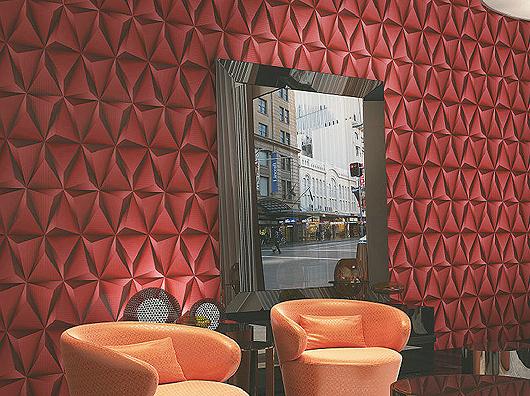 Exclusive 3d tetrahedron vinyl wallpaper 360105 red for Exclusive 3d wallpaper