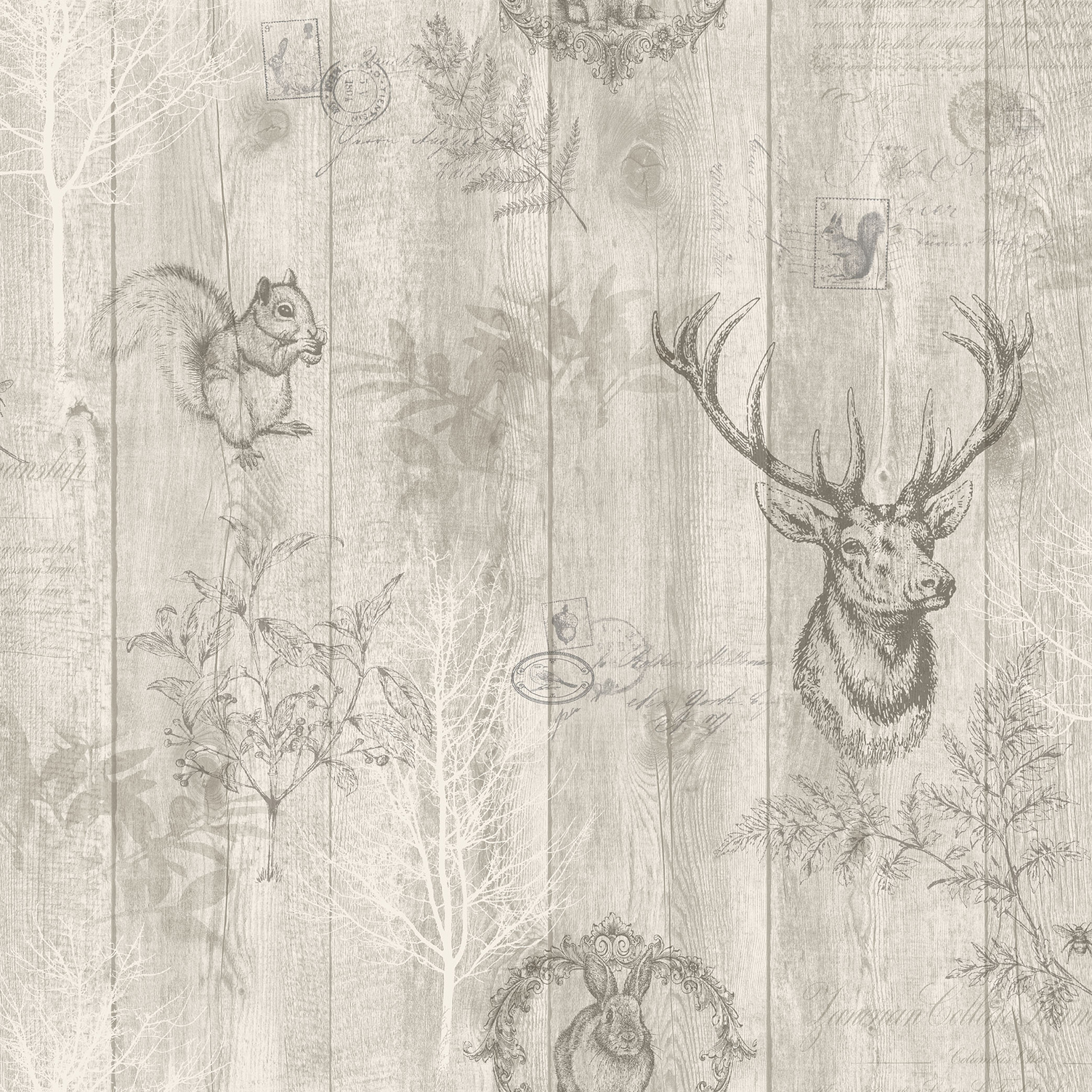 Holden Decor Statement Stag Wood Panel Wallpaper 90091 Beige