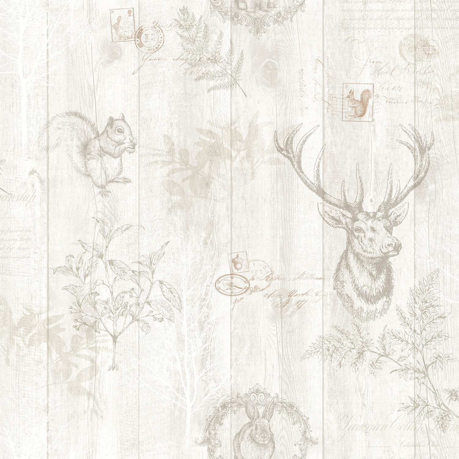 Holden Decor Statement Stag Wood Panel Wallpaper 90092 Cream Rose Gold