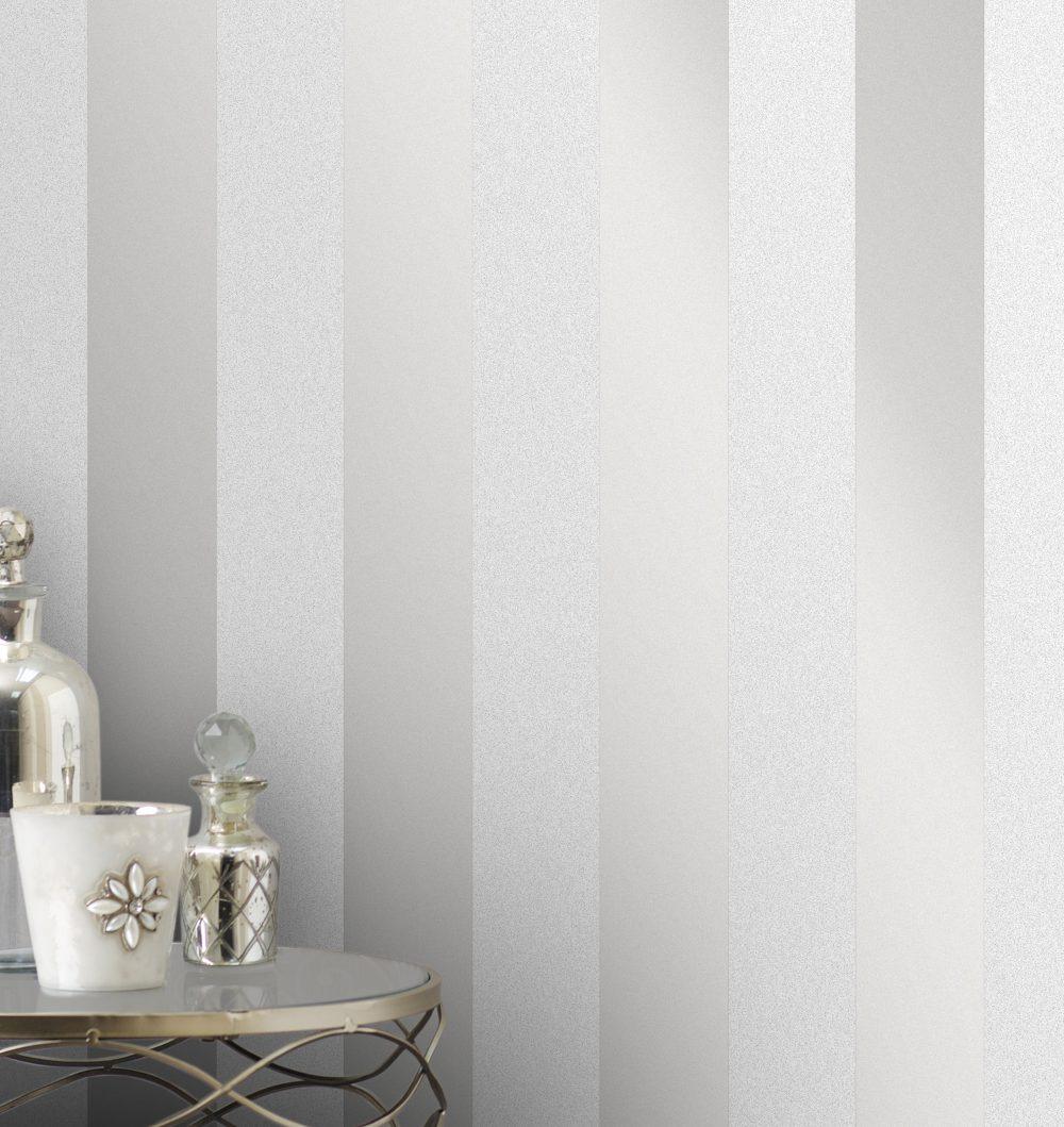 Fine Decor Monaco Stripe Wallpaper FD42240 Silver Grey