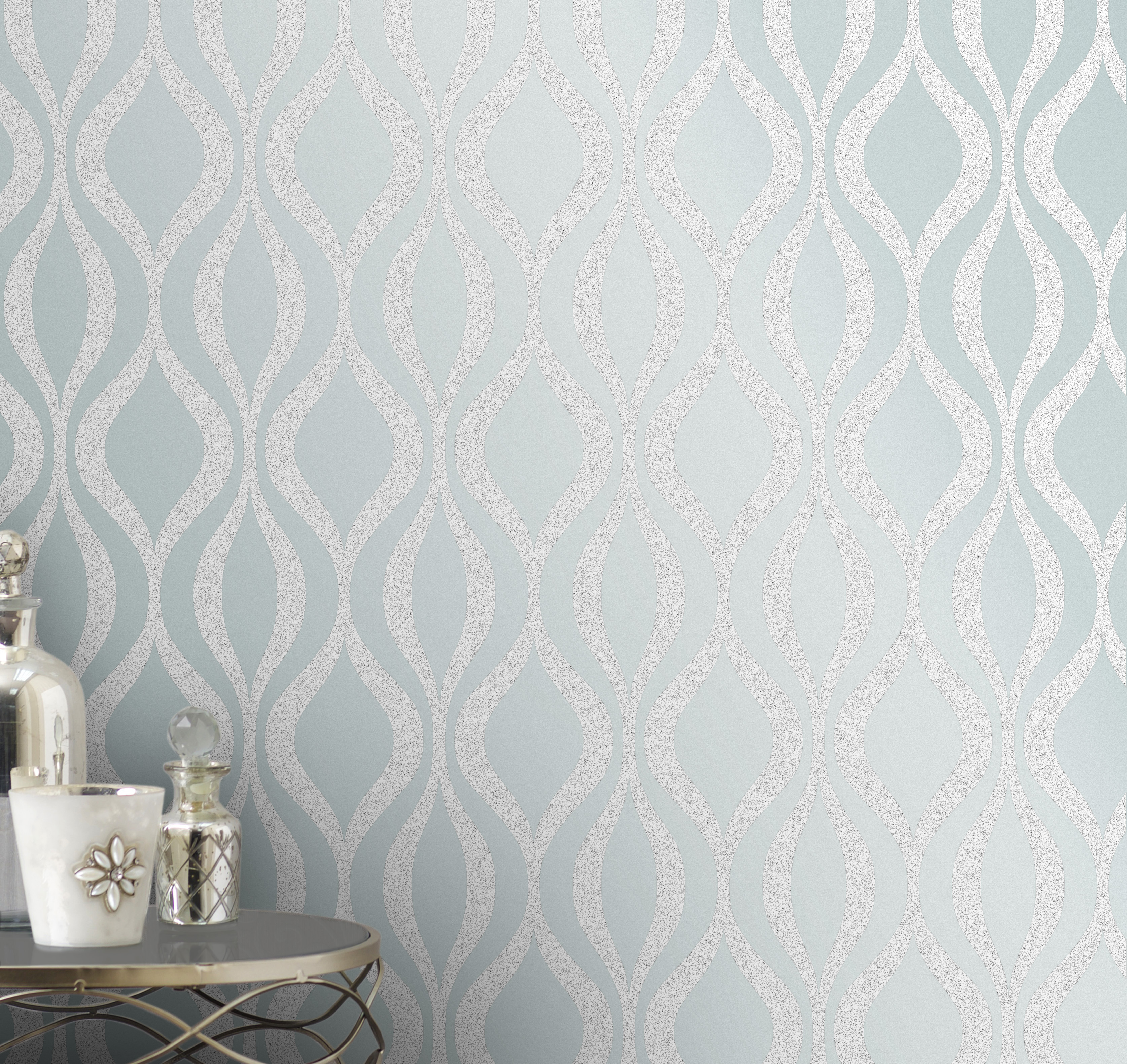 Fine Decor Monaco Geo Wallpaper - FD42257 -Teal