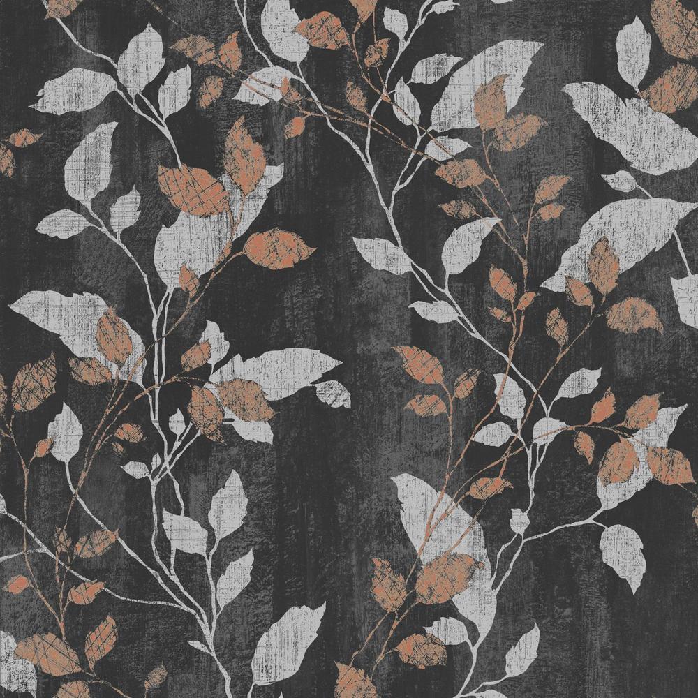 graham and brown boutique vermeil leaf wallpaper 104129 black. Black Bedroom Furniture Sets. Home Design Ideas