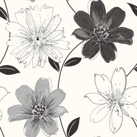 Arthouse Imagine Glitter Samba Floral Wallpaper 699909 Blackwhite