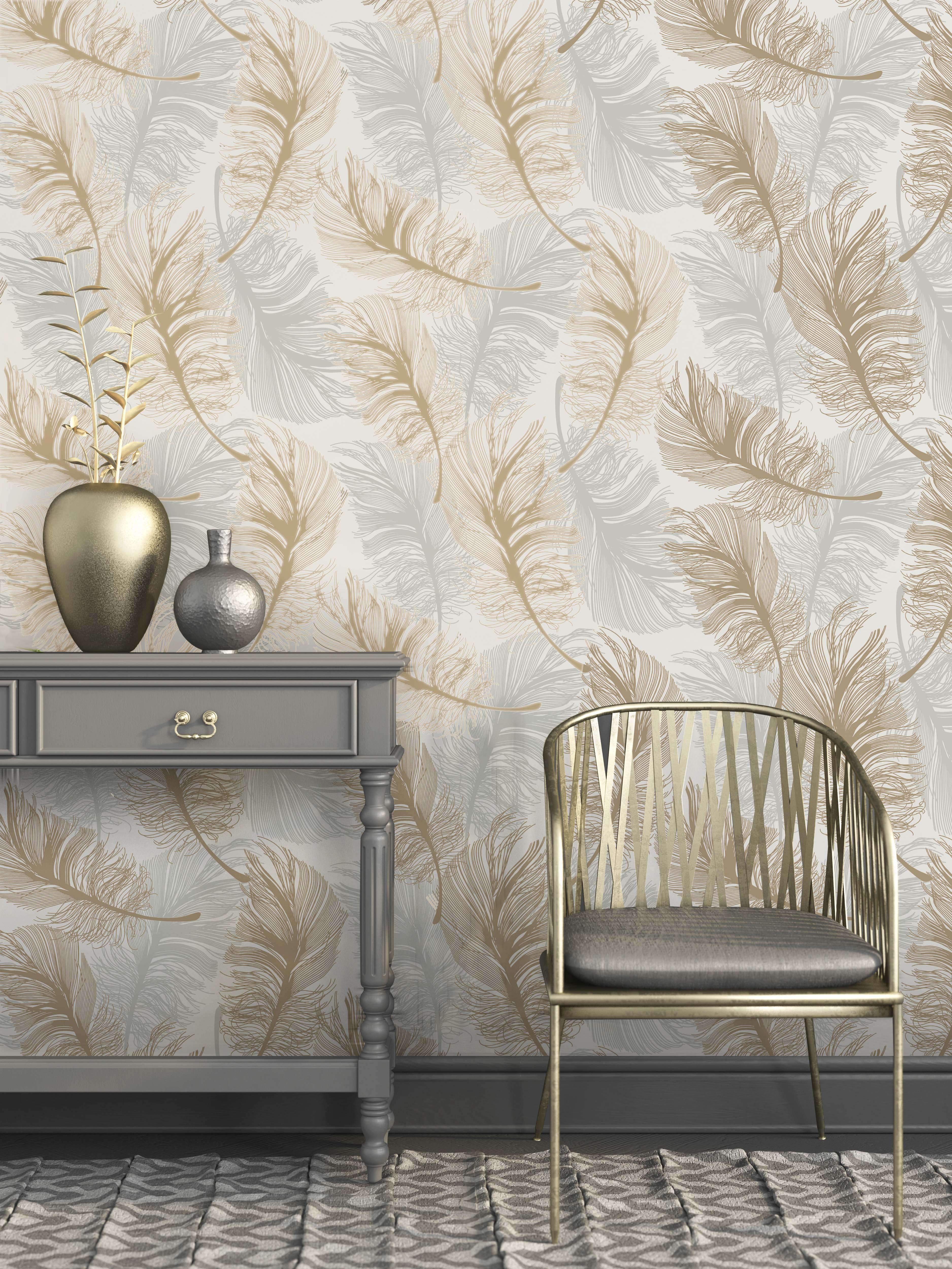 Crown Luxe Plume Foil Wallpaper M1392 Gold