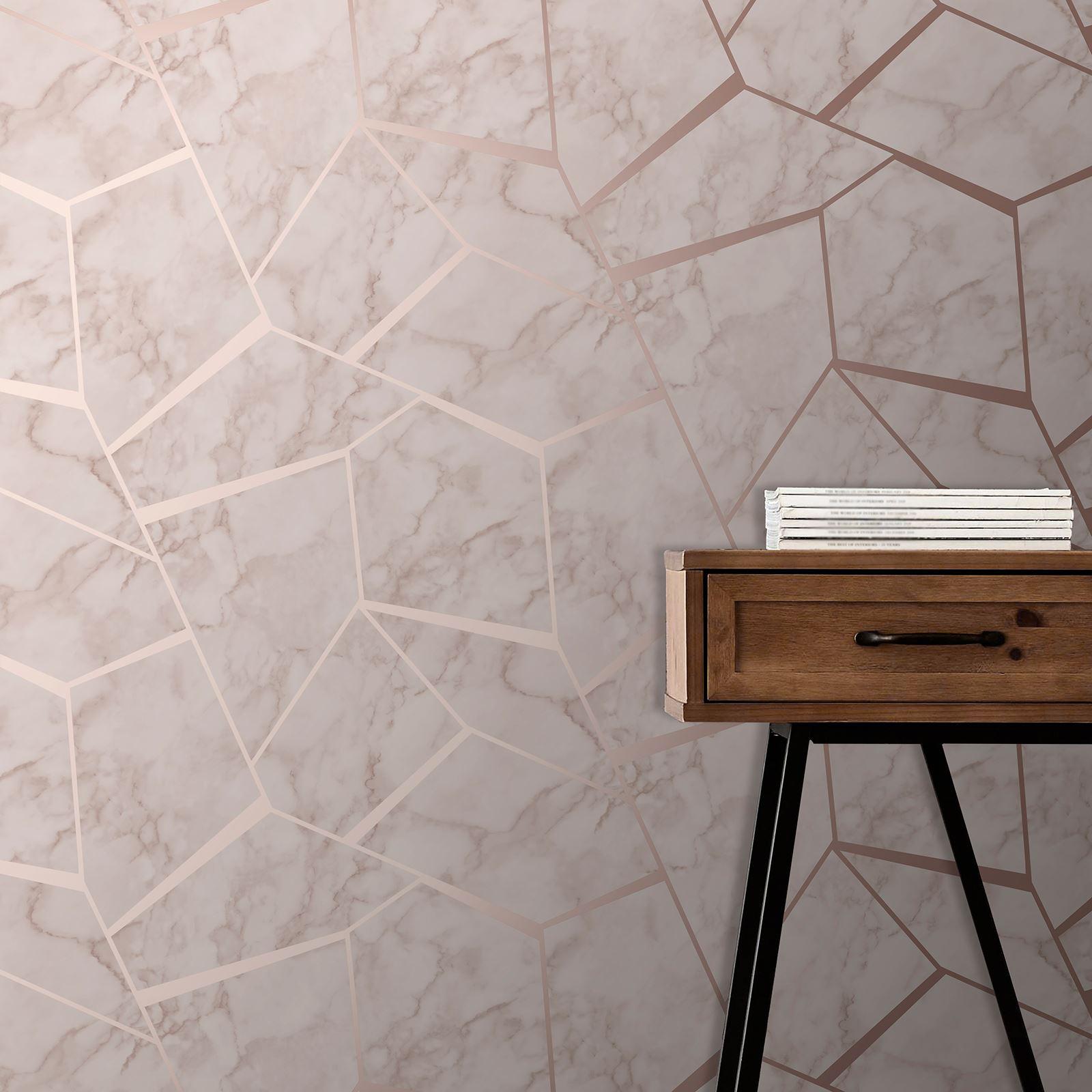 Fine Decor Fractal Marble Wallpaper Fd42264 Rose Gold