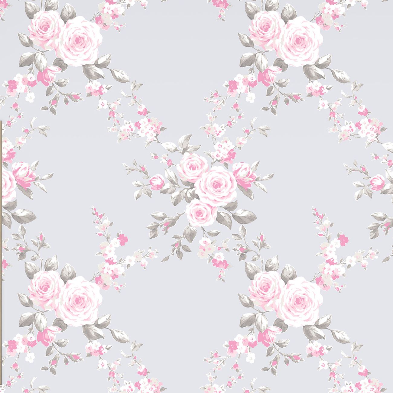catherine lansfield canterbury floral wallpaper 05653 20 grey pink