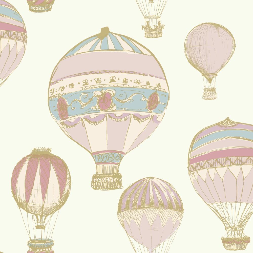Grandeco Ideco Home Hot Air Balloon Wallpaper A11101 Pink